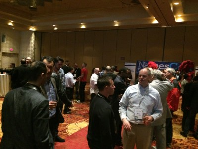 Attendees at one of the networking parties